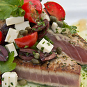 Seared Florida Tuna Steaks with Mediterranean Relish and Herb Oil